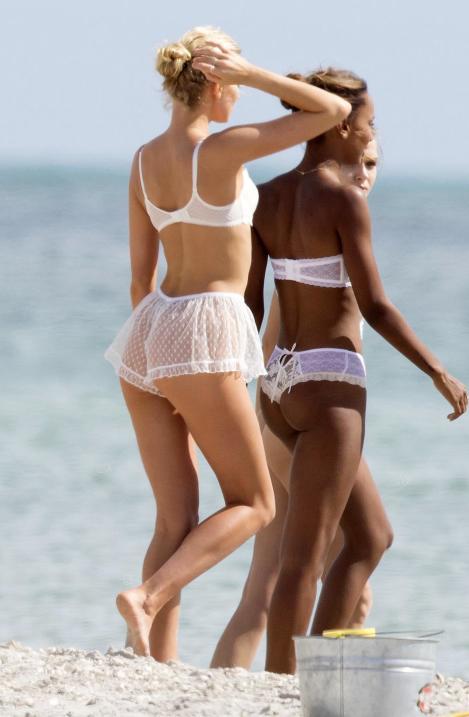 Victorias Secret Angels White Lingerie Miami Beach